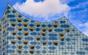 здание, германия, гамбург, фасад, филармония на эльбе