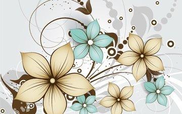 цветы, текстура, фон, узор, орнамент, цветочный, декор