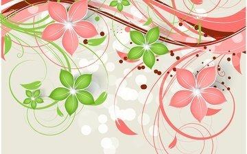 цветы, текстура, фон, узор, завитки, орнамент, цветочный, декор