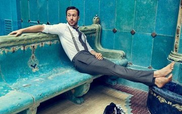 actor, sitting, bench, shirt, tie, photoshoot, pants, barefoot, craig mcdean, ryan gosling