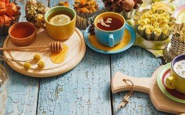 лимон, чашка, чай, мед, травы