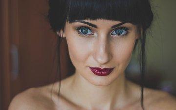 глаза, девушка, портрет, брюнетка, модель, губы, губная помада, valeria boltneva, глаза .брюнетка