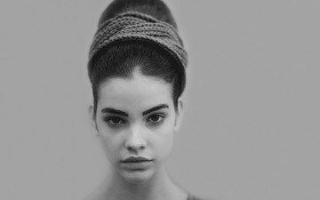 девушка, взгляд, чёрно-белое, модель, волосы, лицо, барбара палвин