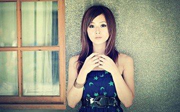 девушка, платье, взгляд, волосы, азиатка, mikako zhang kaijie, микако чжан кайцзе