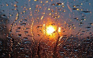 the sun, sunset, drops, rain, glass