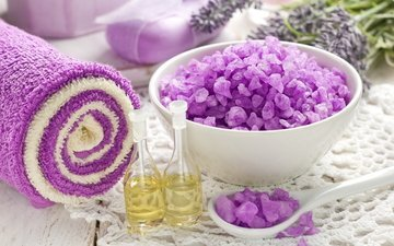 lavender, towel, spa, soap, salt, oil