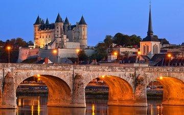 небо, огни, вечер, река, мост, замок, дома, франция, холм, опора