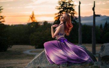 стиль, девушка, поза, взгляд, модель, волосы, рыжеволосая, кайл цун