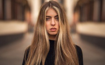 девушка, блондинка, портрет, взгляд, волосы, длинные волосы, мартин кюн