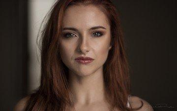портрет, взгляд, модель, волосы, лицо, рыжеволосая, джек рассел, софия блейк