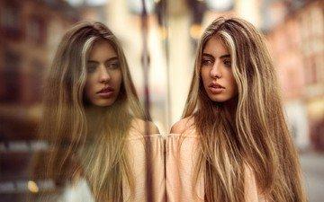 отражение, блондинка, портрет, стекло, длинные волосы, мартин кюн