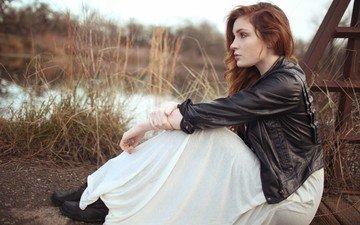 девушка, взгляд, модель, профиль, волосы, рыжеволосая, кожанка, danielle victoria perry