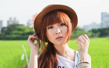 глаза, девушка, настроение, взгляд, модель, лицо, шляпа, азиатка, рыжеволосая