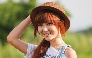 глаза, девушка, настроение, улыбка, взгляд, модель, шляпа, азиатка, рыжеволосая