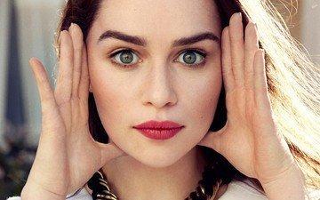 глаза, девушка, взгляд, волосы, лицо, знаменитость, эмилия кларк