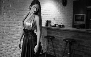 девушка, платье, чёрно-белое, кухня, волосы, вырез, декольте