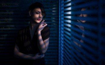 девушка, взгляд, волосы, окно, тени