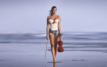 girl, sea, beach, violin, look, model, legs, hair, actress, singer, shorts, tv presenter, sabrina salerno