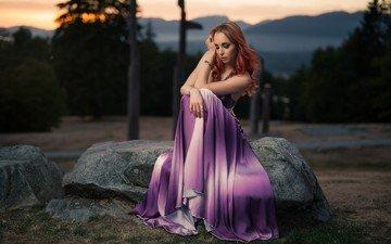 девушка, модель, волосы, рыжеволосая, сидя, фиолетовое платье, кайл цун