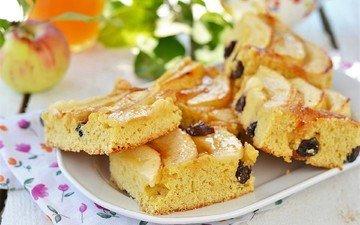 яблоки, выпечка, пирог, изюм, шарлотка