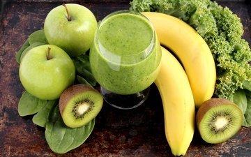 фрукты, яблоко, киви, банан, смузи