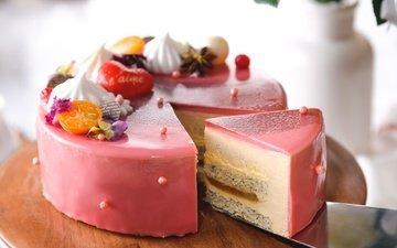 ягоды, сладкое, торт, десерт, глазурь, слои, безе