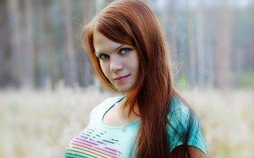 модель, лицо, голубые глаза, длинные волосы, анна, рыжеволосая