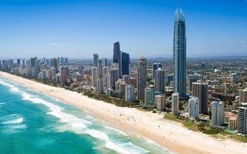 берег, пляж, город, небоскребы, австралия, голд-кост, тихий океан, квинсленд