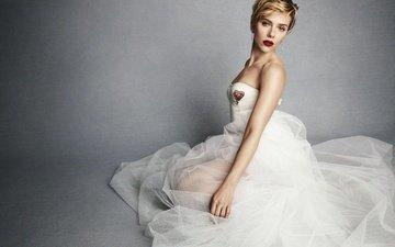 блондинка, актриса, белое платье, скарлет йохансон