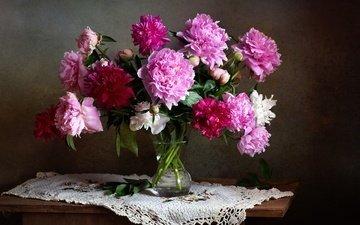 цветы, букет, салфетка, натюрморт, пионы
