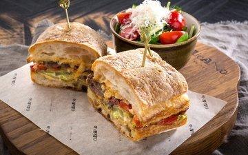 бутерброд, овощи, начинка, салат, сэндвич