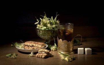 чай, стакан, сладкое, сахар, печенье