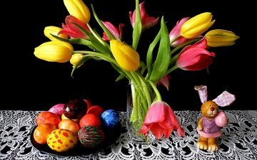 flowers, background, tulips, rabbit, easter, napkin