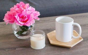 цветы, кофе, кружка, букет, сливки, пионы