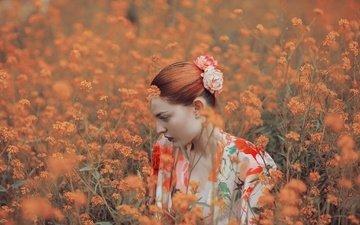цветы, природа, девушка, профиль, рыжеволосая