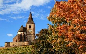деревья, осень, церковь, франция, hunawihr, church saint-jacques-le-majeur, церковь сен-жак-ле-мажёр, юнавир