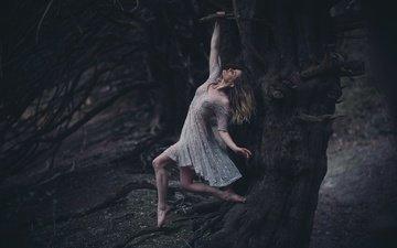 дерево, девушка, платье, висит