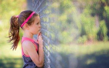 забор, дети, девочка, сетка, профиль, рабица