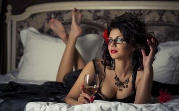 girl, dress, glasses, glass, hair, wine, bed, earrings, necklace