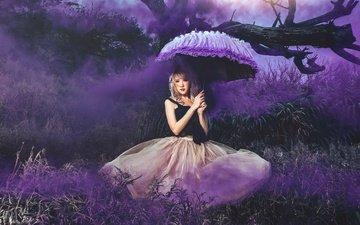 цветы, природа, девушка, фон, дым, зонт