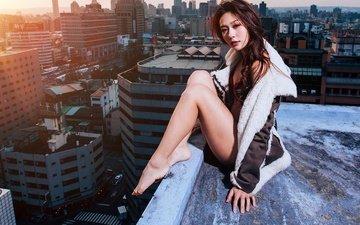 девушка, город, взгляд, волосы, крыша, азиатка