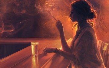 девушка, грусть, дым, профиль, бар, стакан, сигарета, стойка, mandy jurgens