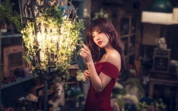 девушка, платье, взгляд, лампа, волосы, азиатка