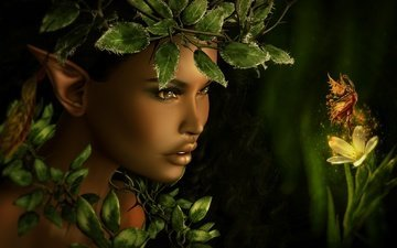 girl, foliage, fairy, face, elf, tale