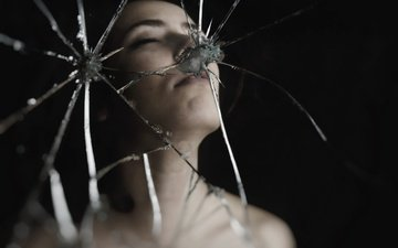 девушка, настроение, отражение, зеркало, лицо