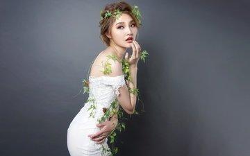 девушка, платье, модель, волосы, губы, лицо, азиатка