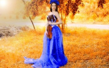 girl, dress, violin, model, almis misca