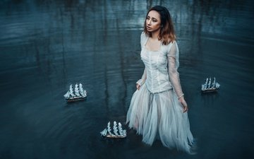 girl, dress, look, hair, tear, boats, in the water, adam bird
