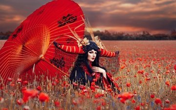 girl, field, maki, umbrella, outfit, makeup