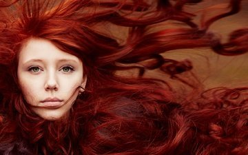 girl, portrait, look, red, model, hair, face, freckles